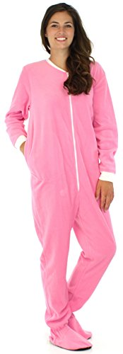 PajamaMania Women's Fleece Onesie Footed Pajama Pjs Light Pink With White- XS