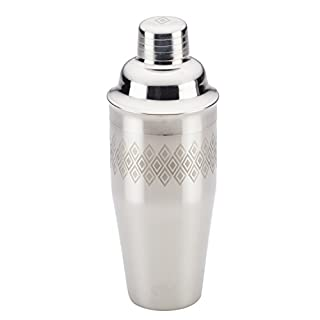Ayesha Curry Barware Stainless Steel Cocktail Shaker/Drink Maker for Measuring Juice, Shaking and Straining, 4-in-1, Silver