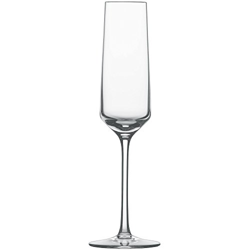 Schott Zwiesel Tritan Crystal Glass Pure Stemware Collection Champagne Flute with Effervescence Points, 7.1-Ounce, Set of 6 (Champagne Set Glasses)
