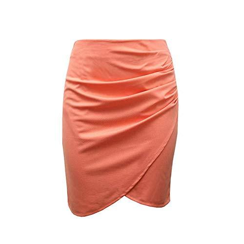 Swovq Mujer La Señora Oficina De Lápiz Las Cintura Envuelven Faldas Orange Mujeres Sólido Falda qTZfwqS