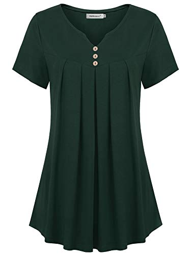 Helloacc Womens Petite Tops and Blouses,Green Pleated Tunic Banded Buttons Decor Henley V Neck Peasant Top Short Sleeved Dressy Tops Cap Offce Wear Shirred Loose Fitting Fit and Flair Tunics Flare L