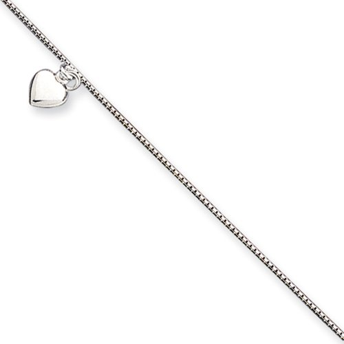 Black Bow Jewelry Sterling Silver Puffed Heart Anklet, 10 Inch