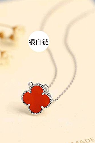 s925 Sterling Silver Necklace Pendant Clover Women Girls Gift Unique Fashion Rose Gold Chain Clavicle Short (Silver Onyx ()