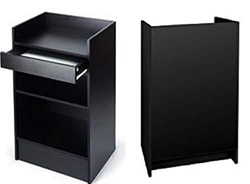 Soporte de caja registradora Negro, ajustable estante, cajones, 24