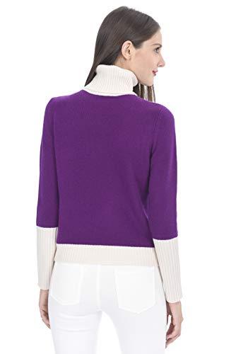 da State con Colori Donna Contrasto di Maglione 100 Cashmere Cashmere Dolcevita Purple BwBzf