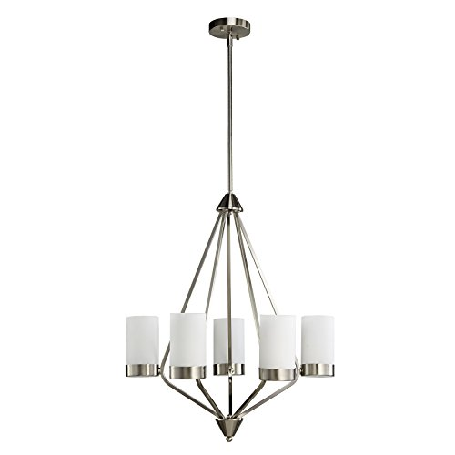 Satin Nickel Finish Chandeliers (CO-Z 5-Light Satin Nickel Finish Chandelier Ceiling Light with Satin Etched Cased Opal Glass Shade)