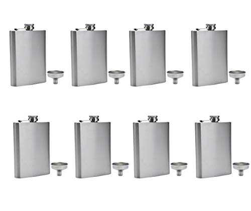 Stainless Flask - FF Elaine Stainless Steel Flasks,Easy Pour Funnel is Included, 8 oz, Set of 8