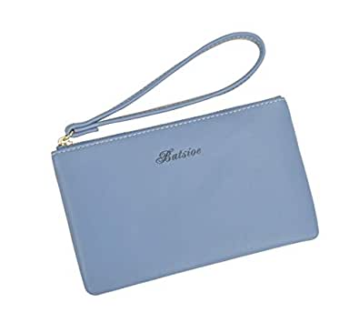 Women Small Wallet Lady Slim Clutch Purse Lightweight Leather Card Case Holder with Wristlet Blue Size: Small