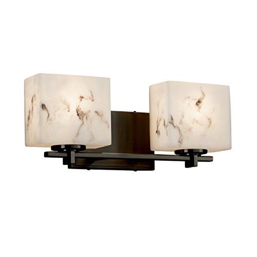LumenAria - Era 2-Light Bath Bar - Rectangle Faux Alabaster Shade - Dark Bronze - Faux Alabaster
