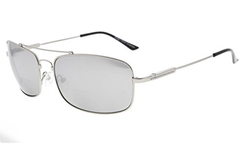- Eyekepper Bifocal Sunglasses with Bendable Bridge and Temples Memory Reading Sunglasses Lightweight Titanium (Silver Mirror, 1.50)