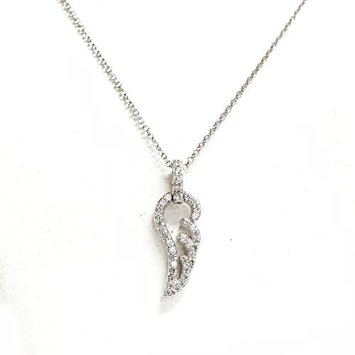 (J'ADMIRE Platinum Plated Sterling Silver Made with Swarovski Zirconia Whimsical Open Angel Wing Pendant Necklace, 16