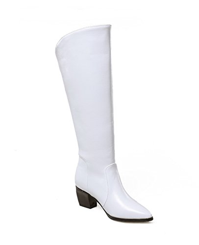 1TO9 Womens Chunky Heels Winkle Pinker Zipper Imitated Leather Boots White qCrmm8yz
