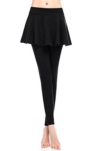 ZUUC Cotton Womens Skirt with Elasticated Waist Full Length Thick Leggings Stretch Skinny Pants (Small, BLACK-FLARE SKIRT)