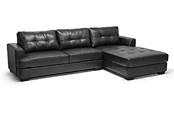 Amazon.com: Contemporary Sectional Sofa in Black Bonded ...