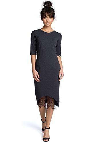 mit Spitzeneinsatz Ausschnitt Clea Graphit und Kleid IE6wqw5