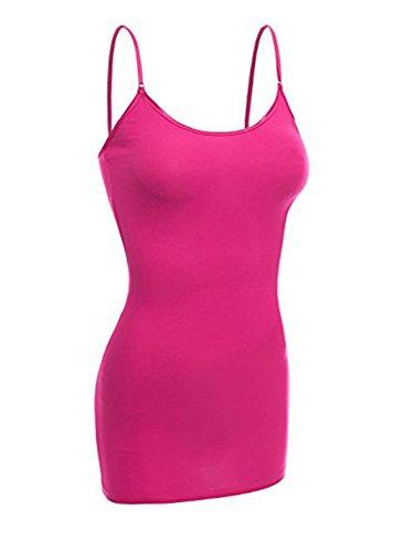 (Emmalise Women's Basic Casual Long Camisole Cami Top Regular and Plus Sizes, Fuschia, Medium)