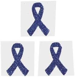 12 Blue Awareness Ribbon Tattoo Stickers