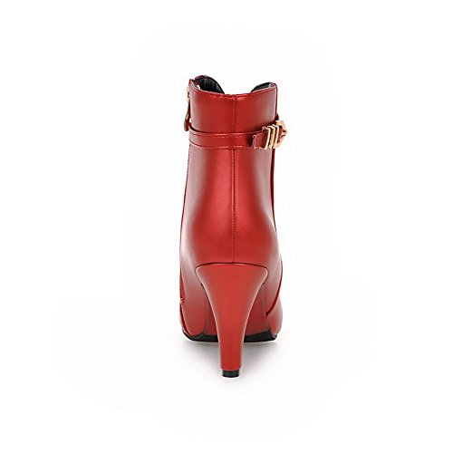 Low High Boots Toe Closed Solid Women's Material Heels Pointed Soft top Red Allhqfashion 8qZBt