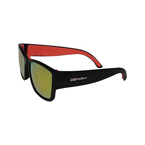 BOMBER GOMER-BOMBS MATTE BLACK Frame RED MIRROR Lens 4 base 54mm Sunglasses (Black Base Red Lens)