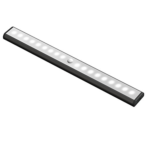 Motion Sensor Led Light, USB Rechargeable 3 Modes Switch(G, ON and OFF) Magnetic Stick On Anywhere Outdoor Portable Night Light Lamp Bulb Lighting Bar for Cabinet Closet Wardrobe (1 Pack 18LED, Black)