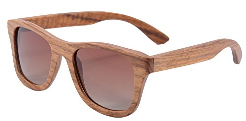 Polished Wood Sunglasses Wooden Wayfarers Polarized Flash Mirror Lens with Case- Z6016(peargradient brown)