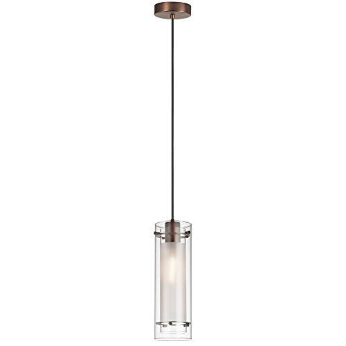 Chic Touch 1 Light Pendant with Oil Brushed Bronze Finish and Clear Frosted Glass (Couture 1 Light Led)