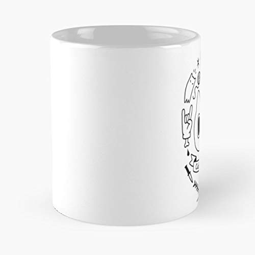 Cat Cats Metal Rock - Coffee Mugs Unique Ceramic Novelty Cup For Holiday Days 11 Oz.