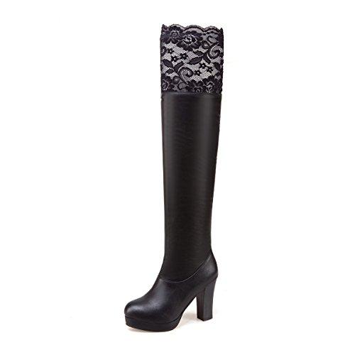 Lange qin Schuhe Toe Damen Schwarz X Boots Blockabsatz Stiefel Round Heels CXQ Fwg7q8xZ