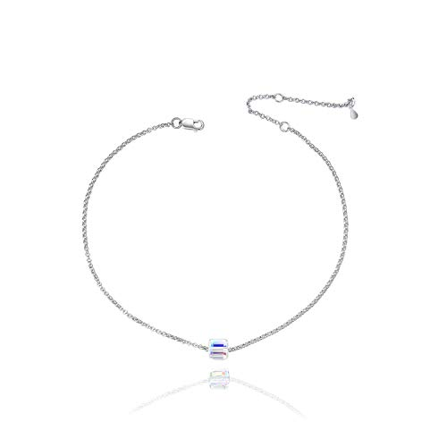 - Colorful Magic Cube Crystal 925 Sterling Silver Anklet for Women Teens Girls, Adjustable 10