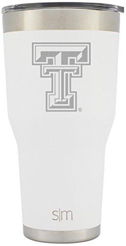 Simple Modern Texas Tech University 30oz Cruiser Tumbler - Vacuum Insulated Stainless Steel Travel Mug - TTU Red Raiders Tailgating College Flask - Winter White
