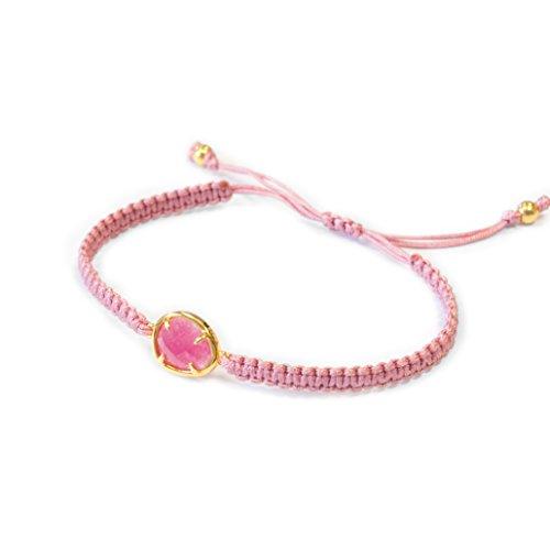 Bracelet argent doré en macramé rose et pierres semi-précieuses