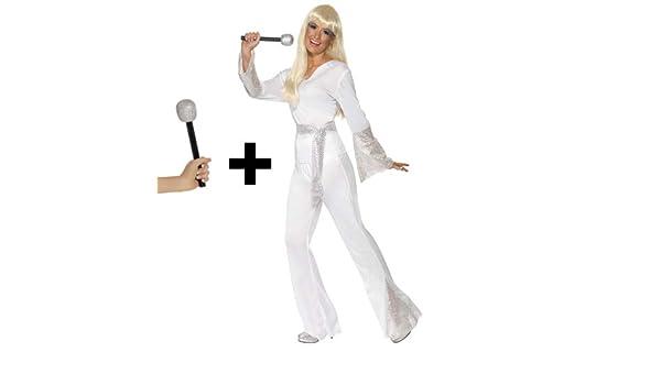 Smiffys Disco Dancing Queen + micrófono para Mujer, Disfraz de ...