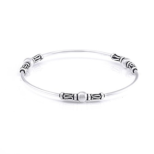 Silverly Women's .925 Sterling Silver Balinese Wire Scrollwork Bangle Bracelet Balinese Bead Bracelet