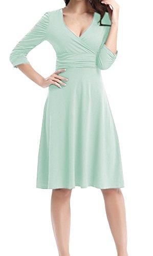 Mujer V 4 Dress Retro Manga Casual Menta DELEY 3 Fiesta Vestido Elegante Cóctel Cuello d0w4wxqtn