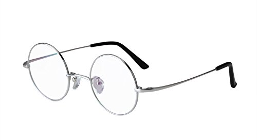 Agstum Pure Titanium Retro Round Prescription Eyeglasses Frame 44-24-140 (Silver, 44mm)