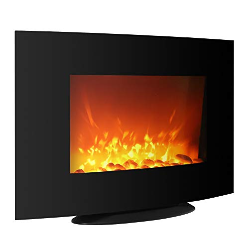 Cheap XINdream 36inch Hanging Fireplace 3D Electronic Flame Wall Mount with Remote Control Realistic Sideline in-Wall Heater with Pebbles Black Black Friday & Cyber Monday 2019