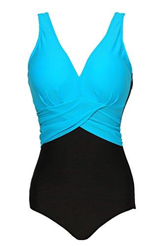 Zando Womens Colorblock Bathing Suits One Piece Swimsuits Plus Size Swimming Swim Suit for Women Slimming V-Neck Swimwear Lake Blue M (US (Colorblock Suit)