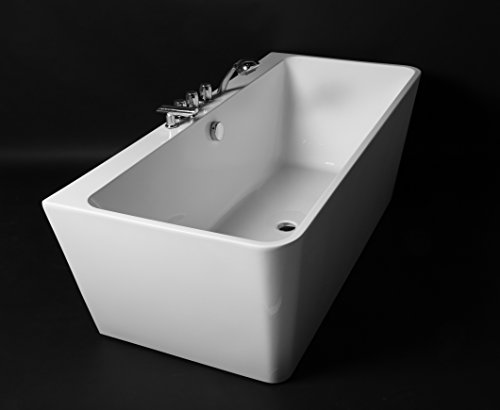 Kokss Iseo 67'' Modern Acrylic Bath Tub With Chrome Finish & Tub Filler Faucet, Freestanding, White, square, Rest, Bathe, Luxury spa hot tub, Seamless Bathroom Soaking, New 2016 Design Model by Kokss (Image #7)