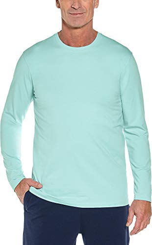 Coolibar UPF 50+ Men's Long Sleeve Everyday T-Shirt - Sun Protective (Medium- Aqua Seaglass) ()