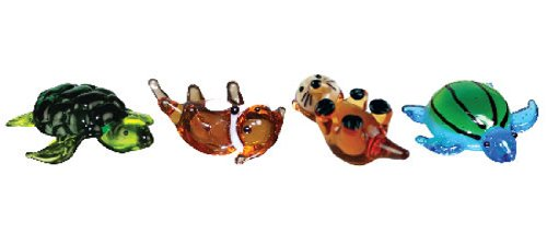 Looking Glass Miniature Collectible - Turtle / Otter (4-Pack) (Glass Figurines Collectibles)