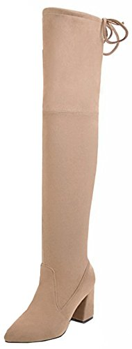 Easemax Women's Dressy Faux Suede Round Toe High Block Heel Zip Up Over Knee High Boots apricot ATMRrL6C