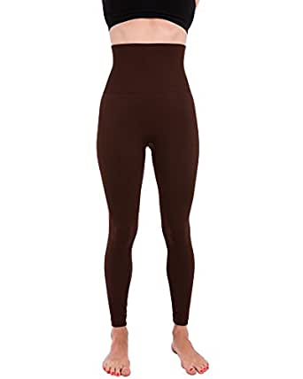 Homma Activewear Thick High Waist Tummy Compression Slimming Body Leggings Pant (Small, Brown)