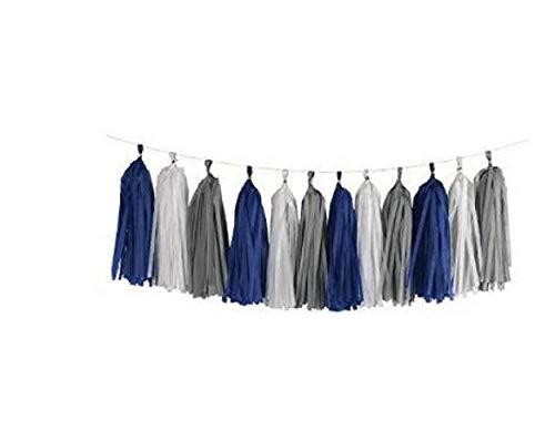 3 Pack 15 Pcs 14 inch Mixed White Navy Blue Grey Tissue Paper Tassels, Wedding Baby Shower Birthday Party Hanging ()