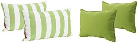 Christopher Knight Home Coronado Outdoor Water Resistant Rectangular Throw Pillows, 4-Pcs Set, Green White