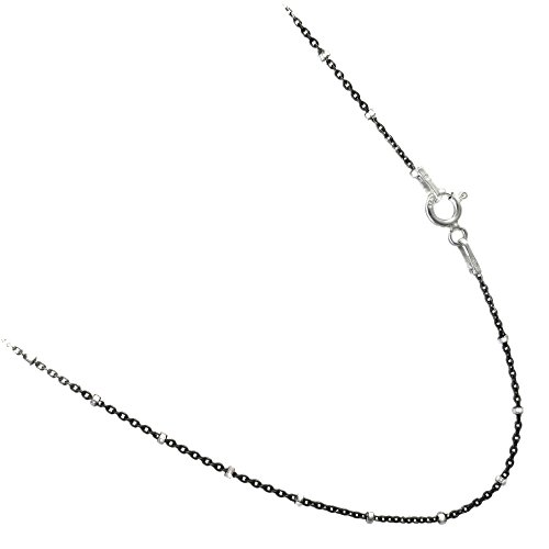 (Black Rhodium Plated Over Sterling Silver Rolo Styled Chain with Sparkle Silver Beads Necklace. 16 to 36 Inches (36))