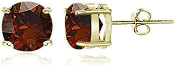 Sterling Silver Garnet Round Stud Earrings, All Sizes