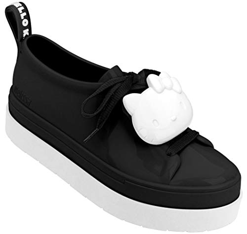 Melissa Womens BE + Hello Kitty Shoe, Black White, Size 7
