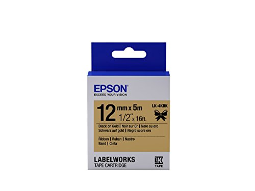 "Epson LabelWorks Ribbon LK (Replaces LC) Tape Cartridge ~1/2"" Black on Gold (LK-4KBK) - For use with LabelWorks LW-300, LW-400, LW-600P and LW-700 label printers"