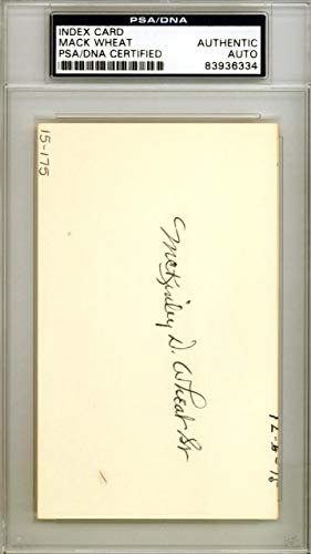 Mack Wheat Autographed 3x5 Index Card Brooklyn Dodgers #83936334 PSA/DNA Certified MLB Cut Signatures