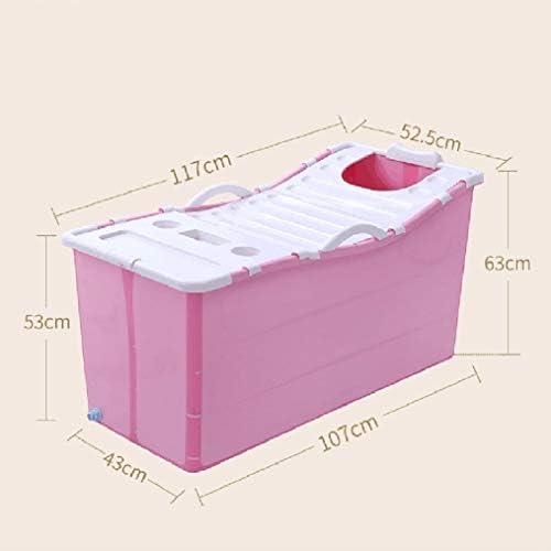 家族浴室用折り畳み式インフレータブル厚く暖かい大人エアーポンプ付きバスタブ子供インフレータブルプールアンチ滑りやすいです (Color : Blue)